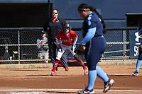 GREENSBORO, NC - FEBRUARY 22: Amanda Ulzheimer #7 of Fairfield University waits on third base during a game between Fairfield and North Carolina at UNCG Softball Stadium on February 22, 2020 in Greensboro, North Carolina.