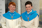 Altar servers Johnn Gallagher(left) and Philip Du Moulin at the Confirmation in Laytown. Photo:www.newsfile.ie