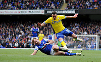 Ipswich Town's James Bree battles with Leeds United's Jack Harrison<br /> <br /> Photographer Hannah Fountain/CameraSport<br /> <br /> The EFL Sky Bet Championship - Ipswich Town v Leeds United - Sunday 5th May 2019 - Portman Road - Ipswich<br /> <br /> World Copyright © 2019 CameraSport. All rights reserved. 43 Linden Ave. Countesthorpe. Leicester. England. LE8 5PG - Tel: +44 (0) 116 277 4147 - admin@camerasport.com - www.camerasport.com