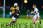 Dara Roche, East Kerry in action against Mikey Boyle, Dingle during the Quarter finals of the Kerry Senior GAA Football Championship at Austin Stack Park on Saturday night.