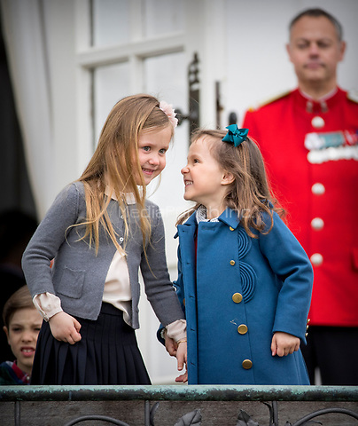 Princess Josephine Princess Athena of Denmark attend the 77th birthday celebrations of Queen Margrethe at Marselisborg palace in Aarhus, Denmark, 16 April 2017. Photo: Patrick van Katwijk Foto: Patrick van Katwijk/Dutch Photo Press/dpa /MediaPunch ***FOR USA ONLY***