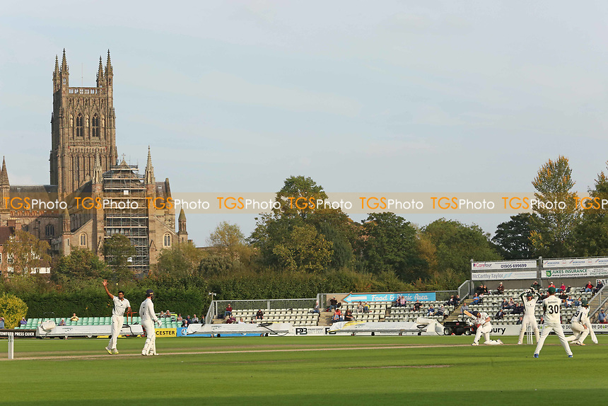 Worcestershire's Ravichandran Ashwin in bowling action appeals against Durham's Paul Colingwood during Worcestershire CCC vs Durham CCC, Specsavers County Championship Division 2 Cricket at New Road on 26th September 2017