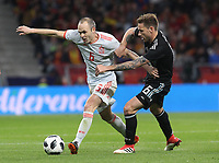 Spanish player Iniesta (L); Argentina's player Biglia<br /> Spain vs Argentina selections team pre Russian Soccer World Cup football match at Wanda Metropolitano stadium in Madrid on March 27, 2018.