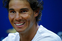 Rafael Nadal of Spain speaks during a news conference at the Arthur ASHE stadium during the US Open 2015 tennis Tournament in New York. 08.29.2015.  Eduardo MunozAlvarez/VIEWpress.
