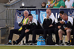 02 May 2015: Tampa Bay head coach Thomas Rongen (NED) (left) with assistant coaches Stuart Campbell (SCO) (center) and Stuart Dobson (ENG) (right). The Carolina RailHawks hosted the Tampa Bay Rowdies at WakeMed Stadium in Cary, North Carolina in a North American Soccer League 2015 Spring Season match. The game ended in a 1-1 tie.