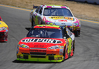 Jun. 21, 2009; Sonoma, CA, USA; NASCAR Sprint Cup Series driver Jeff Gordon leads Greg Biffle during the SaveMart 350 at Infineon Raceway. Mandatory Credit: Mark J. Rebilas-