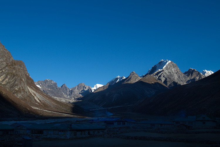 Pheriche valley with Lobuche looming on the horizon. Photo by Didrik Johnck