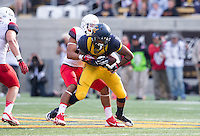 Saturday, November 2nd, 2013: California's Richard Rodgers fights for some yardage after receiving a pass from Jared Goff during a game against Arizona at Memorial Stadium, Berkeley, Final Score: Arizona defeated California 33-28