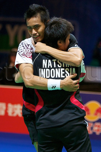 11.03.2012 Birmingham, England. Tontowi Ahmed (INA) and Liliyana Natsir (INA) in action during the Yonex All England Open Badminton Championships at the National Indoor Arena.