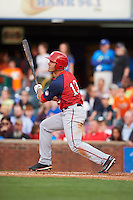 Hagerstown Suns outfielder Jeff Gardner (13) at bat during a game against the Lexington Legends on May 22, 2015 at Whitaker Bank Ballpark in Lexington, Kentucky.  Lexington defeated Hagerstown 5-1.  (Mike Janes/Four Seam Images)