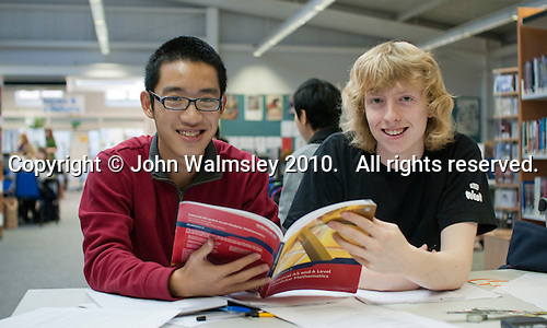 English as a Foreign Language students doing research in the Library , Further Education College.