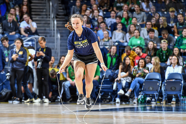 November 16, 2017; The Jump Rope Team performs at halftime of a Men's Basketball game. (Photo by Matt Cashore/University of Notre Dame)