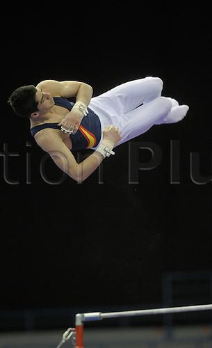 20.4.10 European Gymnastics Championships.Birmingham England.Junior Podium Training.Spain train on high bar..