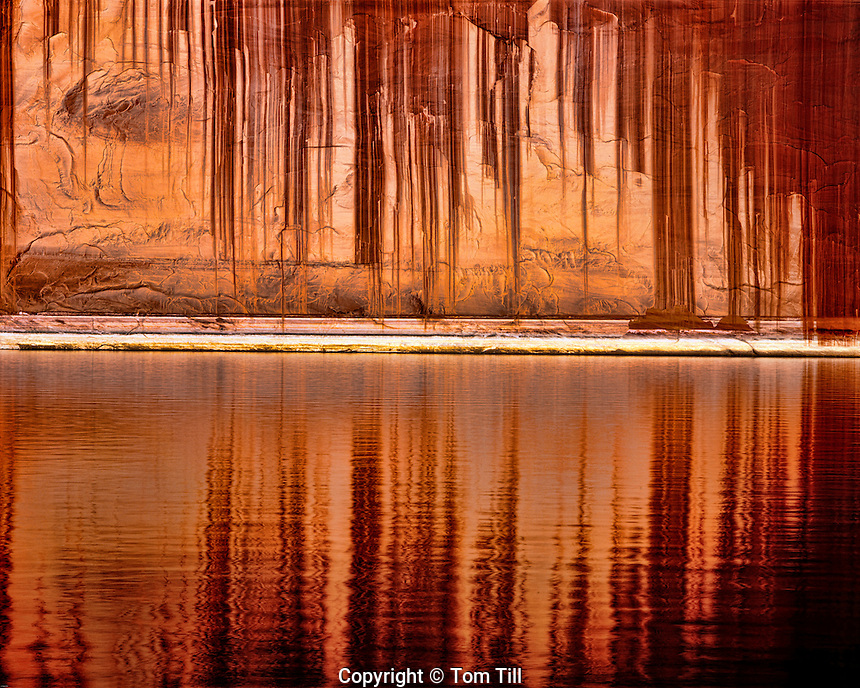 Tapestry wall reflection, Glen Canyon National Recreation Area, Utah, Lake Powell, Colorado river, desert varnished wall named by John Wesley Powell, April