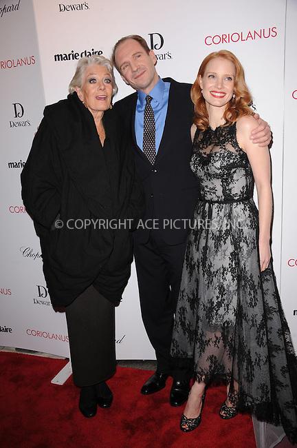 "WWW.ACEPIXS.COM . . . . . .January 17, 2012, New York City....Vanessa Redgrave, Ralph Fiennes and Jessica Chastain attend Chopard & Dewar's New York Premiere of The Weinstein Company's ""Coriolanus"" at the  Paris Theatre on  January 17, 2012  in New York City ....Please byline: KRISTIN CALLAHAN - ACEPIXS.COM.. . . . . . ..Ace Pictures, Inc: ..tel: (212) 243 8787 or (646) 769 0430..e-mail: info@acepixs.com..web: http://www.acepixs.com ."