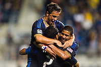 Carlos Valdes (2) of the Philadelphia Union celebrates scoring with teammates. The Columbus Crew defeated the Philadelphia Union 2-1 during a Major League Soccer (MLS) match at PPL Park in Chester, PA, on August 29, 2012.