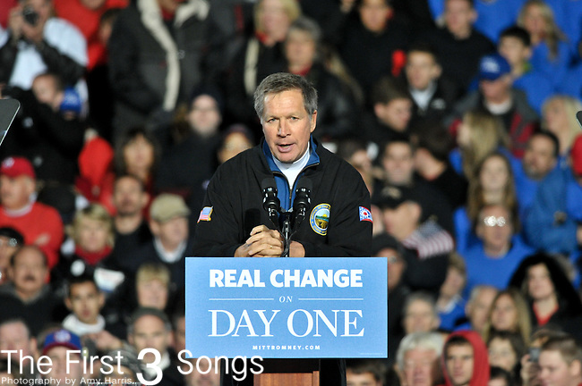 Ohio Governor John Kasich speaks during a campaign rally at The Square at Union Centre on November 2, 2012 for presidential candidate Mitt Romney in West Chester, Ohio.