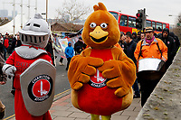 Sir Valiant and Robyn head up the Red, White & Black day procession in support of Charlton Athletic Race & Equality Partnership (CARE) during the Sky Bet League 1 match between Charlton Athletic and Fleetwood Town at The Valley, London, England on 17 March 2018. Photo by Carlton Myrie.