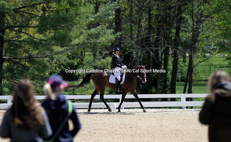 April 23, 2015:  #26 AP Prime and Leah Lang-Gluscic warming up before competing on the first day of Dressage at the Rolex Three Day Event at the Kentucky Horse Park in Lexington, KY.  Candice Chavez/ESW/CSM