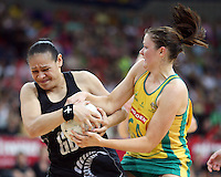 02.11.2008 Silver Ferns Sheryl Scanlan and Australia's Susan Pratley in action during the Holden International Netball test match between the Silver Ferns and Australia played at Brisbane Entertainment Centre in Brisbane Australia. Mandatory Photo Credit ©Michael Bradley.