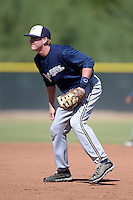 Milwaukee Brewers first baseman Garrett Cooper (7) during an Instructional League game against the Los Angeles Angels on October 11, 2013 at Tempe Diablo Stadium Complex in Tempe, Arizona.  (Mike Janes/Four Seam Images)