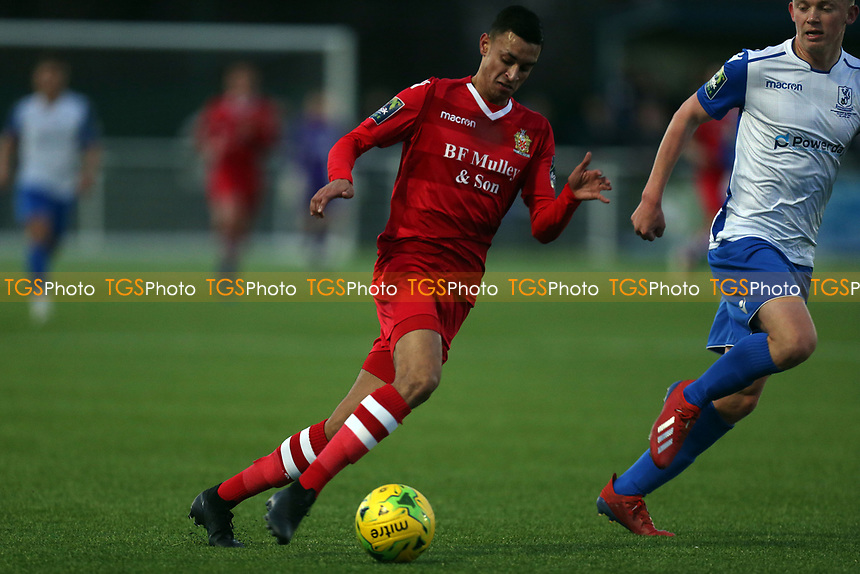 George Saunders of AFC Hornchurch and Joe Payne of Enfield Town during AFC Hornchurch vs Enfield Town, Velocity Trophy Final Football at Parkside on 10th April 2019