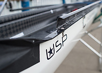 Mortlake/Chiswick, GREATER LONDON. United Kingdom Oxford University Women's Boat  Club, OUWBC vs Molesey BC,  Pre Boat Race Fixture, 2017 Boat Race, The Championship Course, Putney to Mortlake on the River Thames. Some of the add ons to the racing shells to combat rough water and prevent swamping &quot;Electric Pumps&quot;<br /> <br /> Sunday  19/03/2017<br /> <br /> [Mandatory Credit; Peter SPURRIER/Intersport Images]