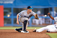 Tampa Tarpons shortstop Kyle Holder (8) catches a throw down on a stolen base attempt during a game against the Dunedin Blue Jays on June 2, 2018 at Dunedin Stadium in Dunedin, Florida.  Dunedin defeated Tampa 4-0.  (Mike Janes/Four Seam Images)