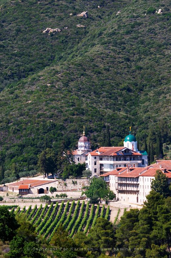 The Tsantalis sponsored monastery. Vineyard. Mount Athos. Tsantali Vineyards & Winery, Halkidiki, Macedonia, Greece. Metoxi Chromitsa of St Panteleimon monastery.
