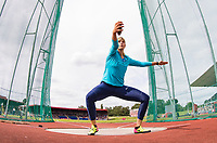 Nadine MULLER of Germany warms up for the Women Discus Throw during the Muller Grand Prix Birmingham Athletics at Alexandra Stadium, Birmingham, England on 20 August 2017. Photo by Andy Rowland.