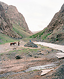 MONGOLIA, Yol Valley, a man leads his horse to a shrine in the Yol Valley National Park