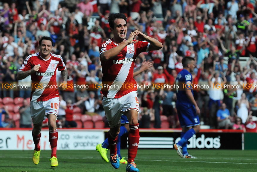 Kike of Middlesbrough celebrates scoring Middlesbrough's second goal - Middlesbrough vs Birmingham City - Sky Bet Championship Football at the Riverside Stadium, Middlesbrough - 09/08/14 - MANDATORY CREDIT: Steven White/TGSPHOTO - Self billing applies where appropriate - contact@tgsphoto.co.uk - NO UNPAID USE
