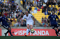 Hannah Wilkinson passes during the international women's football match between the New Zealand Football Ferns and Japan at Westpac Stadium in Wellington, New Zealand on Sunday, 10 May 2018. Photo: Dave Lintott / lintottphoto.co.nz