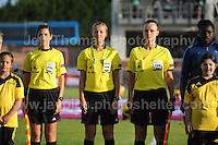 The Officials  line up during the playing of the National anthems at the UEFA Womens U19 Championships at Stebonheath Park, Llanelli  Monday 19th August 2013. All images are the copyright of Jeff Thomas Photography-www.jaypics.photoshelter.com-07837 386244-Any use of images must be authorised by the copyright owner.