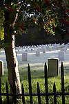 Port Townsend, faceless military gravestones, sunrise, Fort Worden Military Cemetery, Pacific Northwest, Washington State,