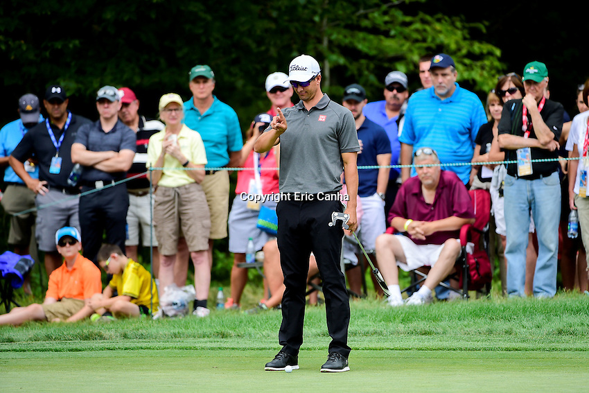 Saturday, September 3, 2016:  Adam Scott of Australia studies his putt on the on the fifth green during the second round of the Deutsche Bank Championship tournament held at the Tournament Players Club, in Norton, Massachusetts.  Eric Canha/Cal Sport Media