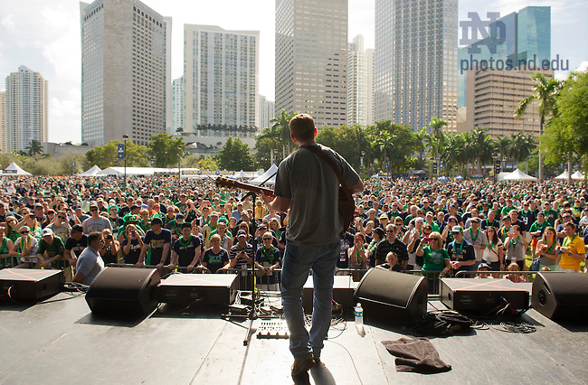 Jan. 7, 2013; Pat McKillen performs during Notre Dame Game Day at Bayfront Park in Miami, Florida. Photo by Barbara Johnston/University of Notre Dame