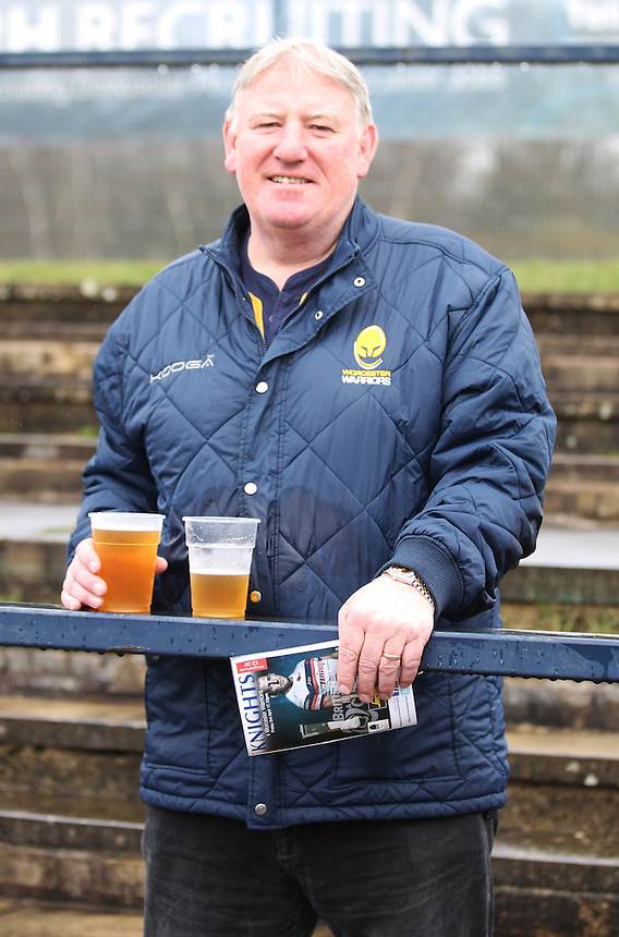 Worcester Warriors fan<br /> <br /> Photographer Rachel Holborn/CameraSport<br /> <br /> Rugby Union - British and Irish Cup Final - Doncaster Knights v Worcester Warriors - Friday 3rd April 2015 - Castle Park - Doncaster<br /> <br /> &copy; CameraSport - 43 Linden Ave. Countesthorpe. Leicester. England. LE8 5PG - Tel: +44 (0) 116 277 4147 - admin@camerasport.com - www.camerasport.com