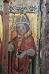 Saint Clement, medieval rood screen paintings, St Andrew church, Westhall, Suffolk, England, UK