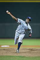 Wilmington Blue Rocks relief pitcher Robinson Yambati (15) in action against the Winston-Salem Dash at BB&T Ballpark on July 30, 2015 in Winston-Salem, North Carolina.  The Dash defeated the Blue Rocks 7-3.  (Brian Westerholt/Four Seam Images)