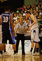 Referee Raewyn Willocks discusses the game with St Pats captain Jacob Ashby during the NZ Secondary Schools Basketball Championships match between Fraser High School and St Patricks College at Arena Manawatu, Palmerston North, New Zealand on Saturday 4 October 2008. Photo: Dave Lintott / lintottphoto.co.nz