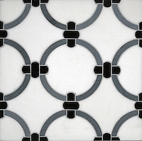 Cary, a stone water jet mosaic, shown in Thassos, Bardiglio, and Nero Marquina, is part of the Ann Sacks Beau Monde collection sold exclusively at www.annsacks.com