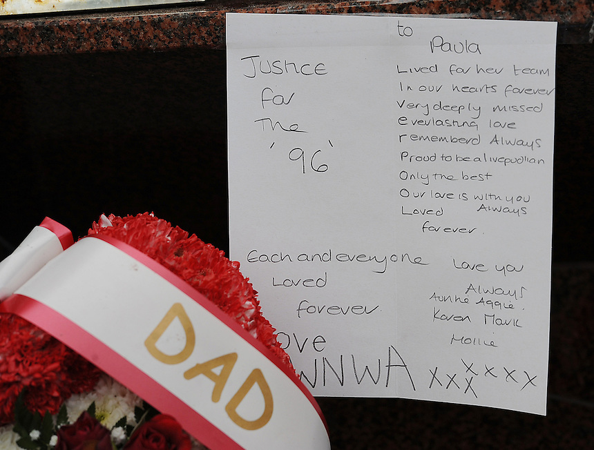 A tribute left next to the Anfield memorial to the ninetysix fans who lost their lives at the 1989 Hillsborough disaster..Football - Barclays Premiership - Liverpool v Manchester United - Sunday 23rd September 2012 - Anfield - Liverpool..