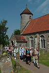 St Walstans Day, Bawburgh, St Mary and Saint Walstan's Church Norfolk 2018. Church members gather for Sunday church service and then process to the Holy healing well not far away.  <br />