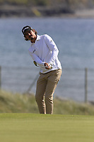 Pedro Figueiredo (POR) chips onto the 3rd green during Thursday's Round 1 of the Dubai Duty Free Irish Open 2019, held at Lahinch Golf Club, Lahinch, Ireland. 4th July 2019.<br /> Picture: Eoin Clarke | Golffile<br /> <br /> <br /> All photos usage must carry mandatory copyright credit (© Golffile | Eoin Clarke)