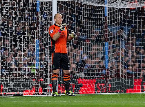 04.03.2013 Birmingham, England.  Aston Villa's Brad Guzan in action during the Premier League game between Aston Villa and Manchester City from Villa Park.