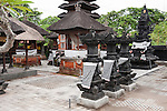 Saba Beach, Sanur, Bali, Indonesia; a religious temple near the black sand beach overlooking the ocean