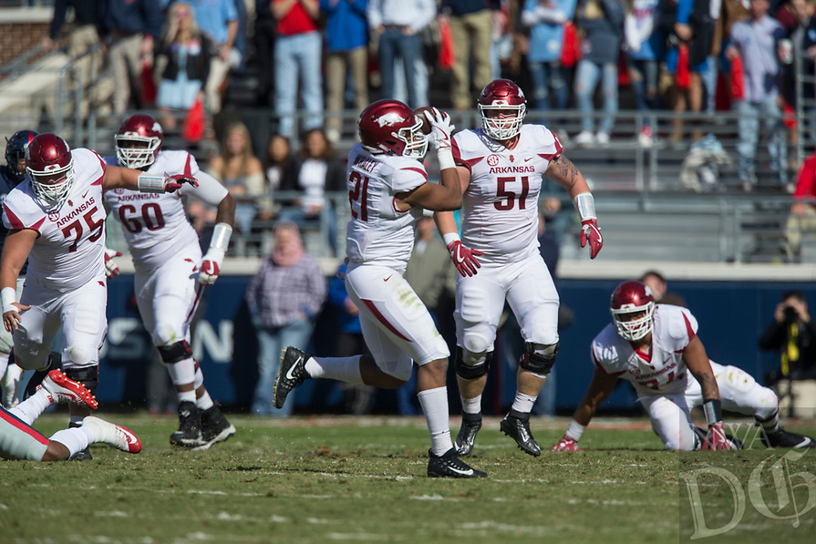Hawgs Illustrated/BEN GOFF <br /> Devwah Whaley, Arkansas running back, catches a pass in the first quarter against Ole Miss Saturday, Oct. 28, 2017, at Vaught-Hemingway Stadium in Oxford, Miss.
