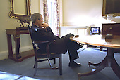 United States President George W. Bush watches at the White House in Washington, DC the broadcast of Secretary of State Colin Powell's address at the United Nations Wednesday, February 5, 2003. <br /> Credit: Eric Draper - White House via CNP