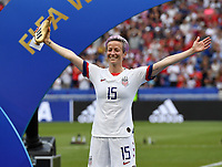20190707 - LYON , FRANCE : American Megan Rapinoe pictured receiving the golden boot as top scorer during the female soccer game between The United States of America – USA-  and the Netherlands – Oranje Leeuwinnen -, the final  of the FIFA Women's  World Championship in France 2019, Sunday 7 th July 2019 at the Stade de Lyon  Stadium in Lyon  , France .  PHOTO SPORTPIX.BE | DAVID CATRY